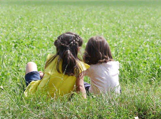 野原で虫を観察する虫好きな女の子たち